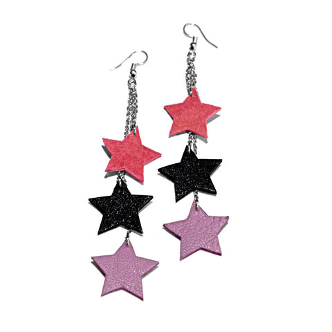 recycled leather star earrings