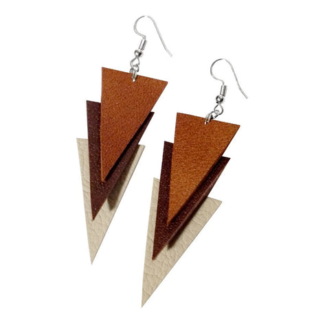 Recycled Leather TripleT Earrings