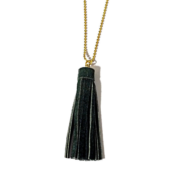 recycle leather tassel necklace