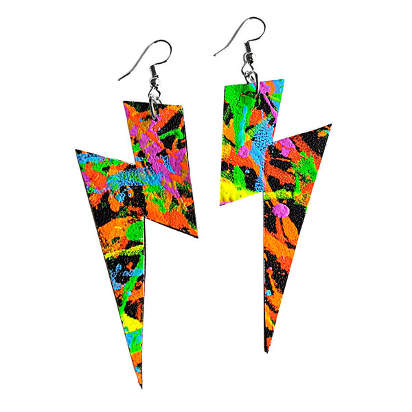 recycled leather uv glow earrings