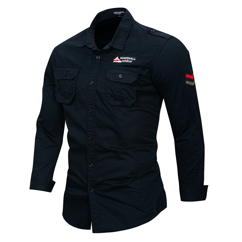 Men's Fashion Long Sleeve Casual Military Shirts