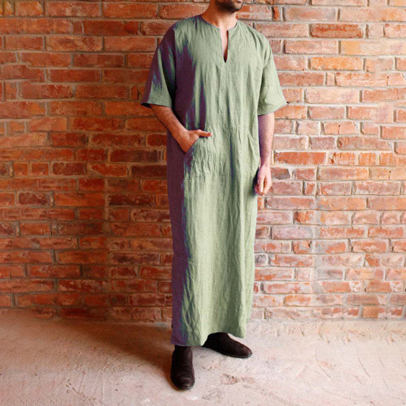 Vintage Style Kaftan Robes Men's Loose Comfy Casual T-shirt