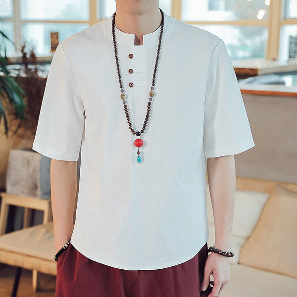 Chinese Style Cotton Linen T-shirt Large Size Men's Casual Short Sleeves Tops