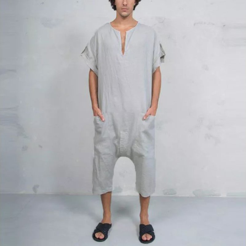 Personality Men's Front pocket One-piece Linen Casual Jumpsuit