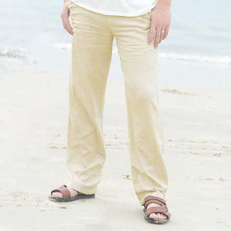 Mens Cotton Beach Solid Color Loose Fit Drawstring Straight Pants