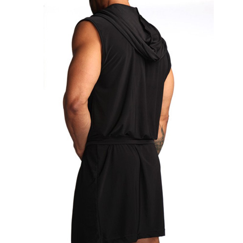 Bathrobe Sleeveless Pajamas Men's Ultra-thin Hooded Robe
