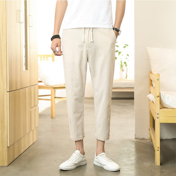 Men's Casual Solid Color Breathable Cotton Linen Nine Pants