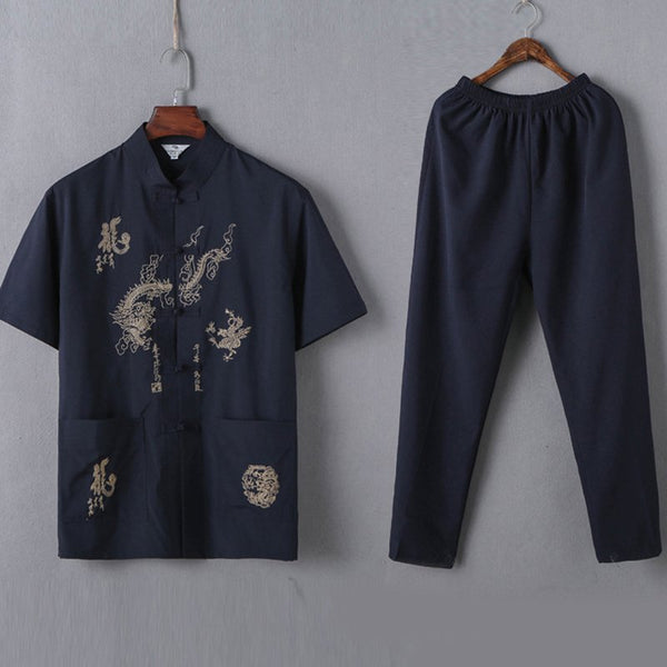 Short-sleeved middle-aged men's clothing men's Chinese style men's Tai Chi clothing Tang suit men's suit national clothing