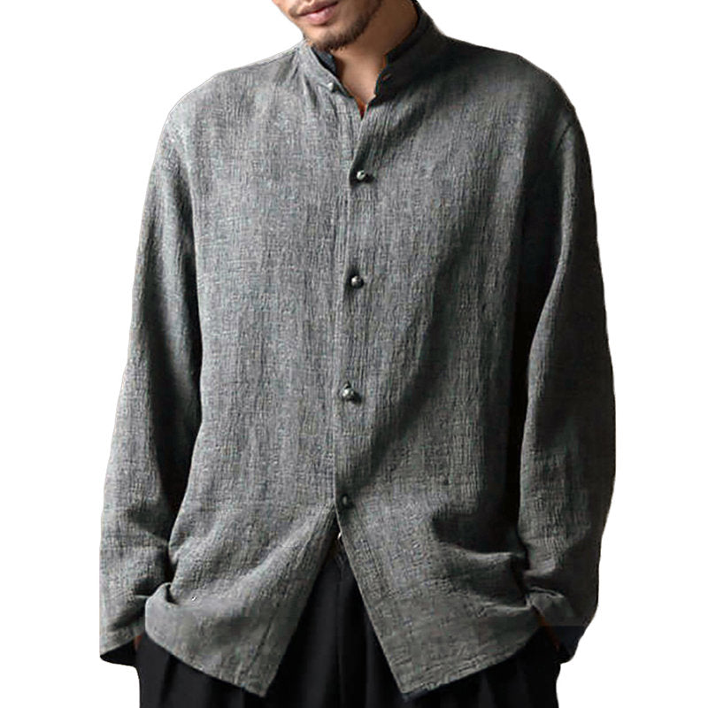 Men's Long-sleeved Cotton Casual Collar Loose Spring and Autumn Shirts