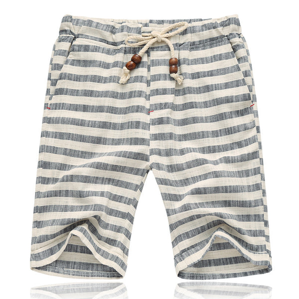 Men's Fashion Casual Striped Beach Cotton Shorts