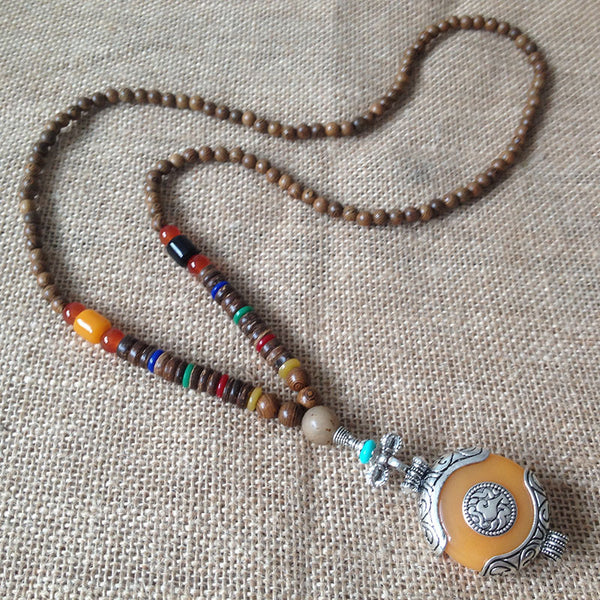Vintage Ethnic Bodhi Beads Long Necklaces Unisex Chicken Wings Wooden Agate Pendant