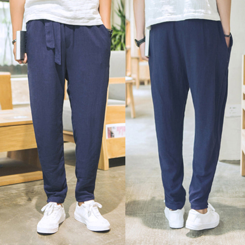 Casual Drawstring Breathable Trousers Summer  Men's Solid Color Pants