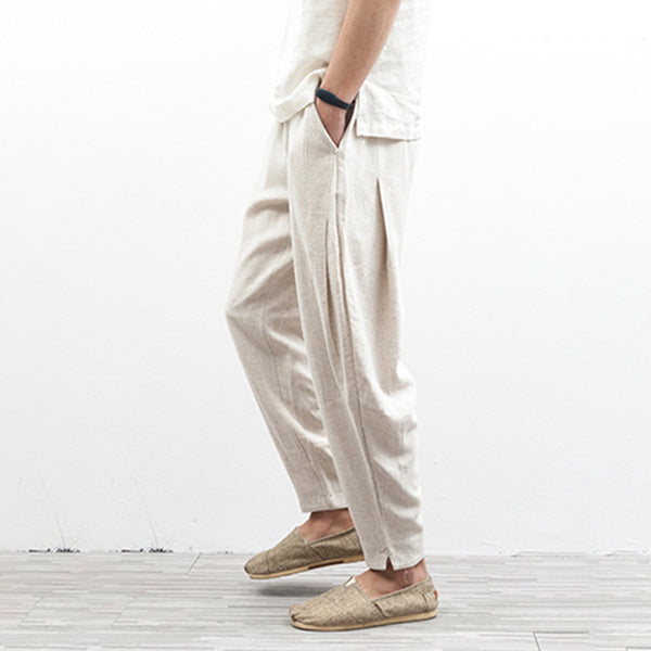 Men's Casual Feet Pants Linen Cotton Breathable Harem Pants