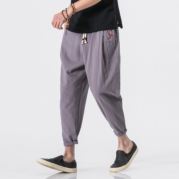 Men's Harem Pants Cotton Linen Retro Casual Nine Pants