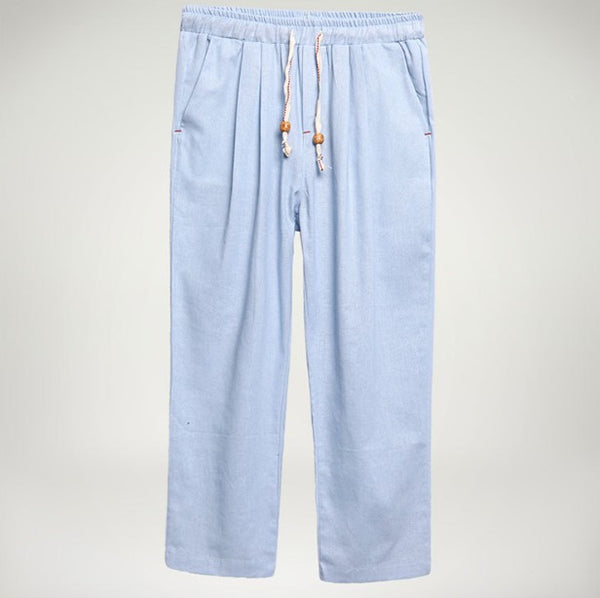 Solid Cotton Pockets Pants