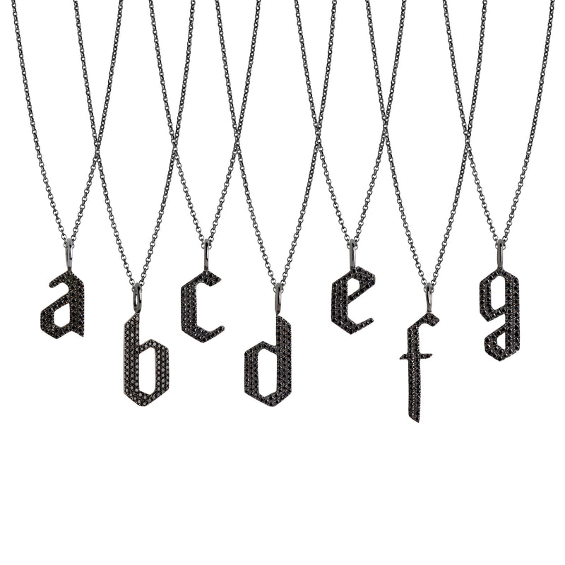 BLACK DIAMOND ALPHABET NECKLACE