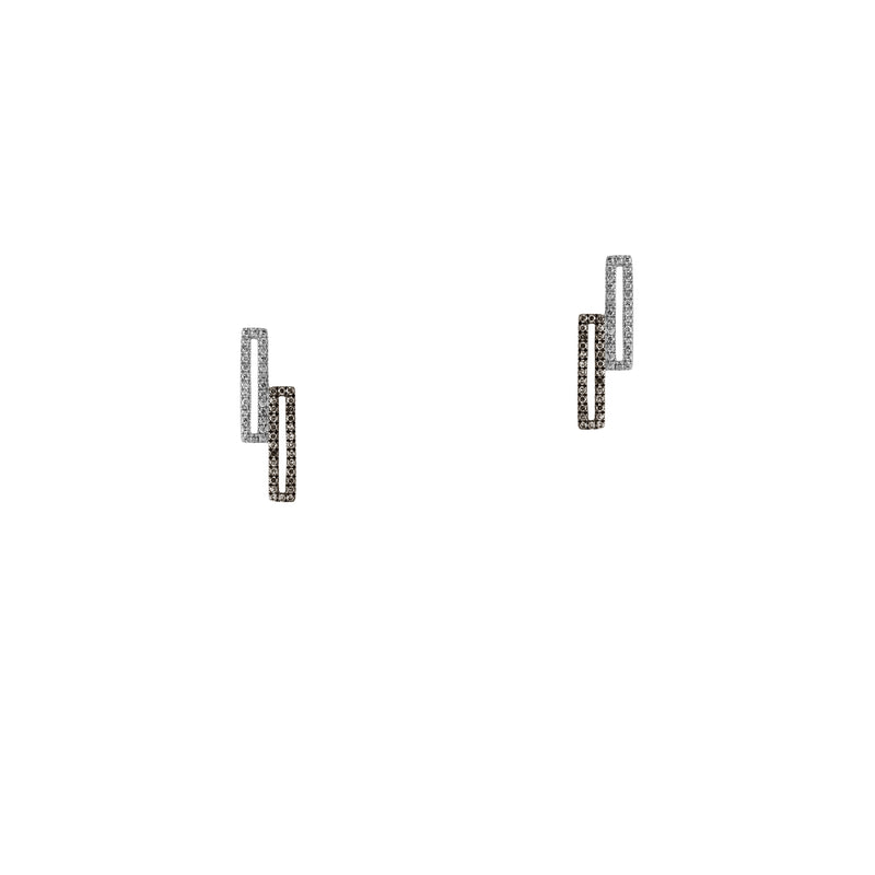 STAGGERED OPEN BAR DIAMOND STUDS - Bridget King Jewelry
