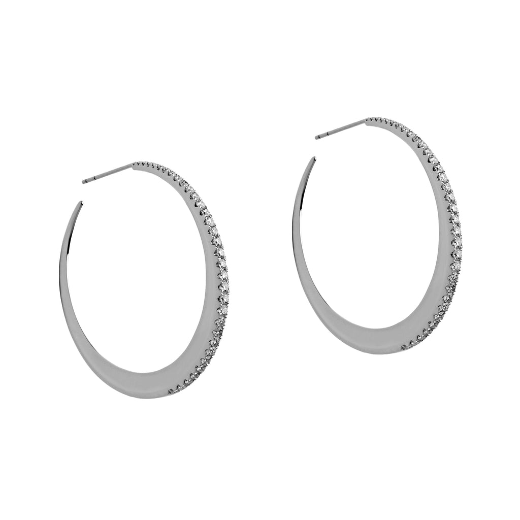MEDIUM DIAMOND MOON HOOPS - Bridget King Jewelry