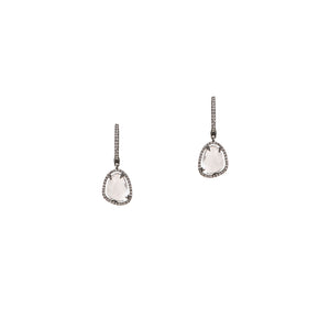 WHITE TOPAZ w/ DIAMOND DROP EARRINGS - Bridget King Jewelry