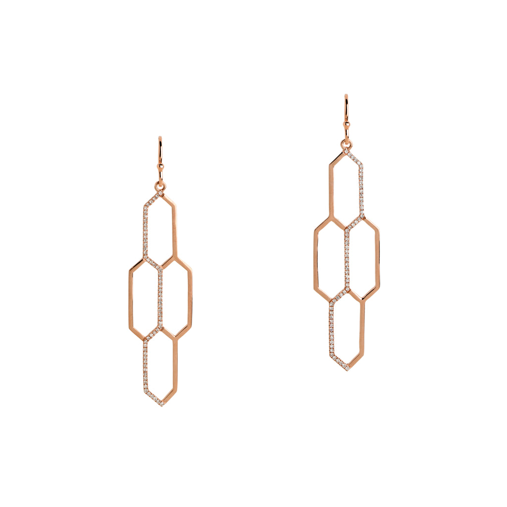 DIAMOND HONEYCOMB EARRINGS - Bridget King Jewelry