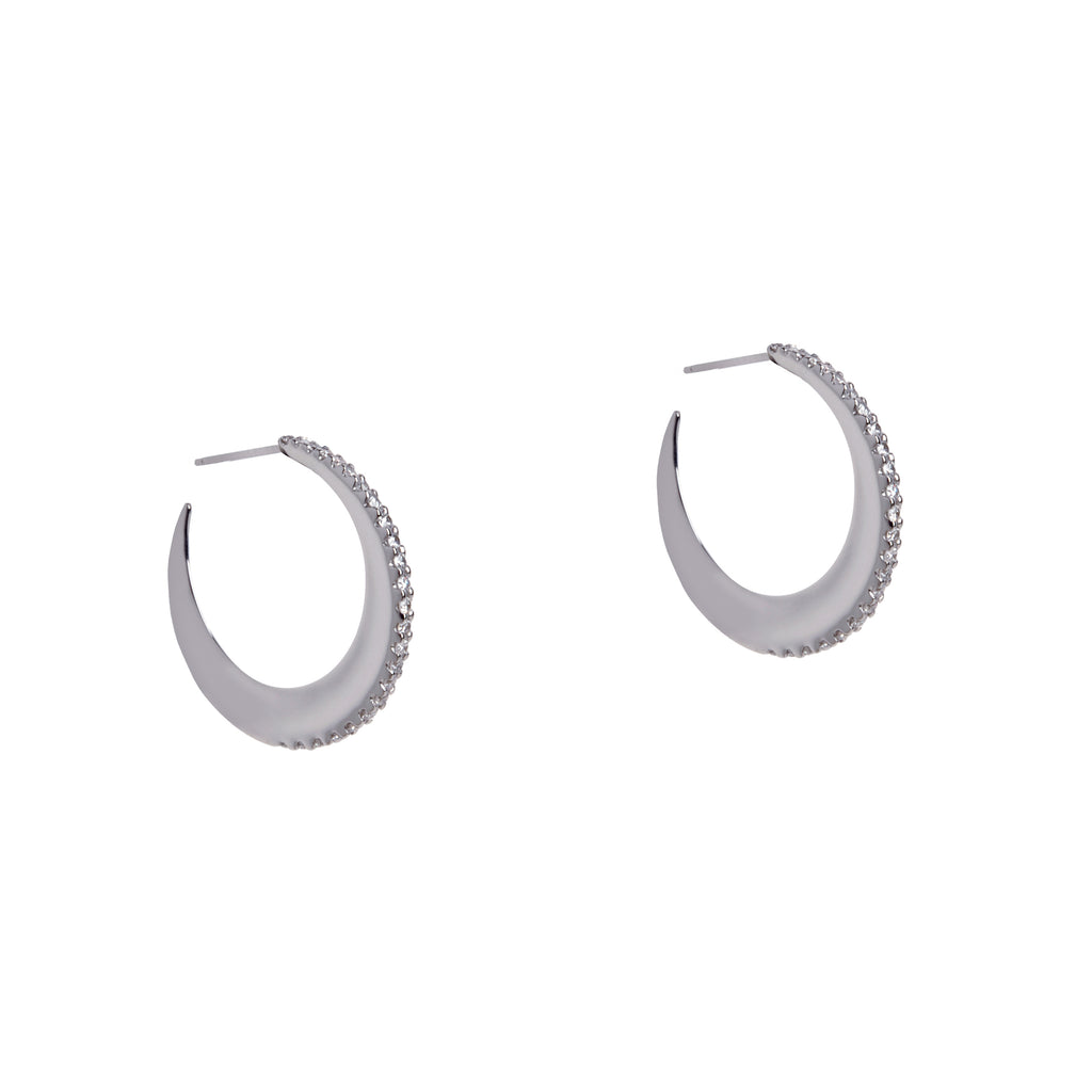 BABY DIAMOND MOON HOOPS - Bridget King Jewelry