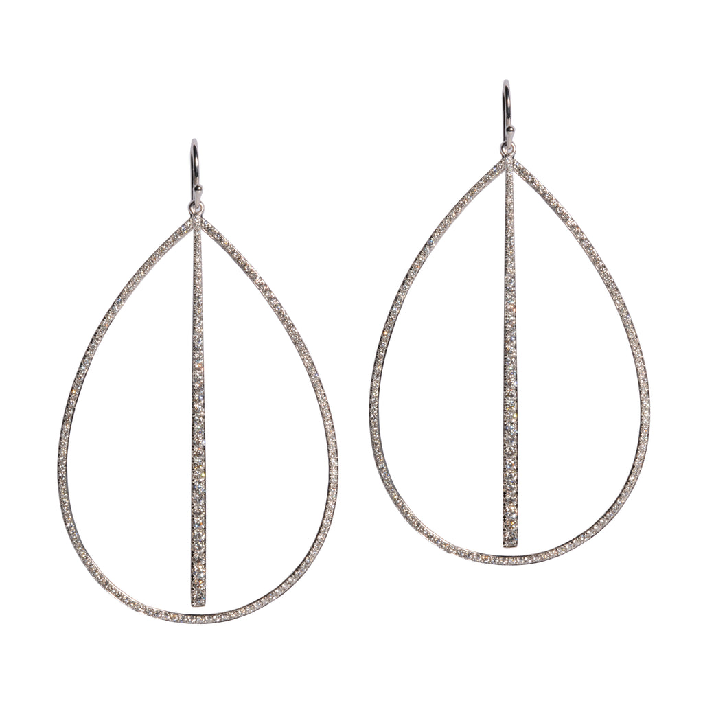 LARGE DIAMOND TEARDROP & DIAMOND STICK EARRINGS - Bridget King Jewelry