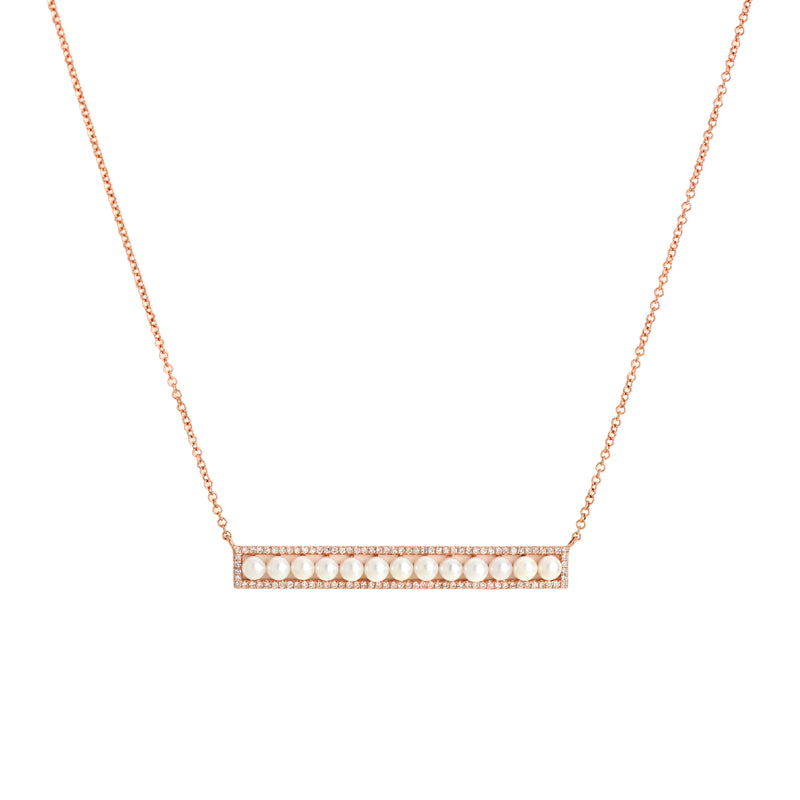 LONG DIAMOND PEARL BAR NECKLACE - Bridget King Jewelry