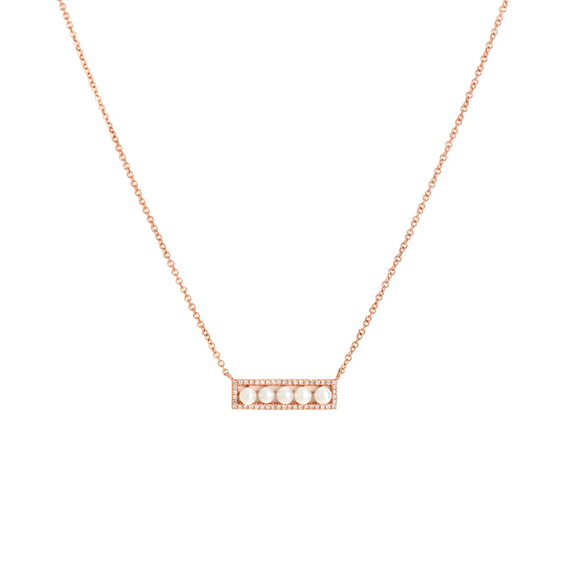 SHORT DIAMOND PEARL BAR NECKLACE - Bridget King Jewelry