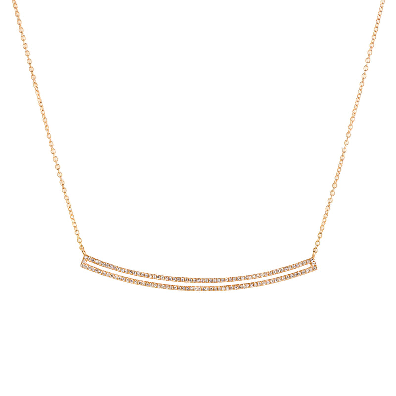 CURVED OPEN BAR DIAMOND NECKLACE - Bridget King Jewelry