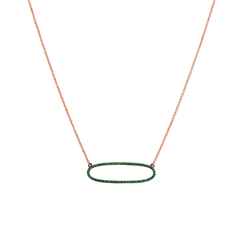 REVERSIBLE GREEN GARNET OVAL NECKLACE - Bridget King Jewelry