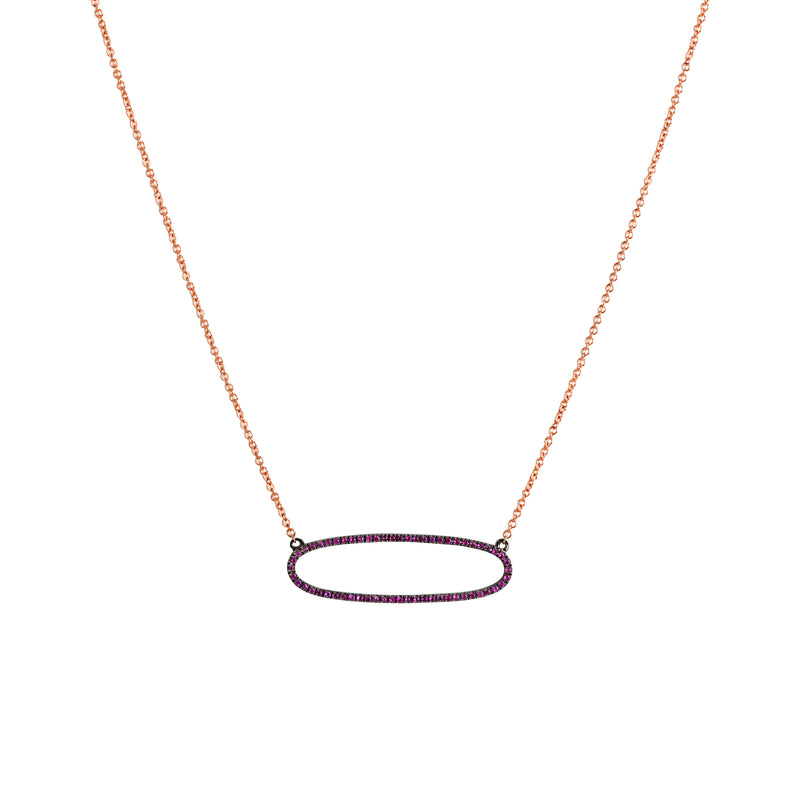REVERSIBLE PINK SAPPHIRE OVAL NECKLACE - Bridget King Jewelry