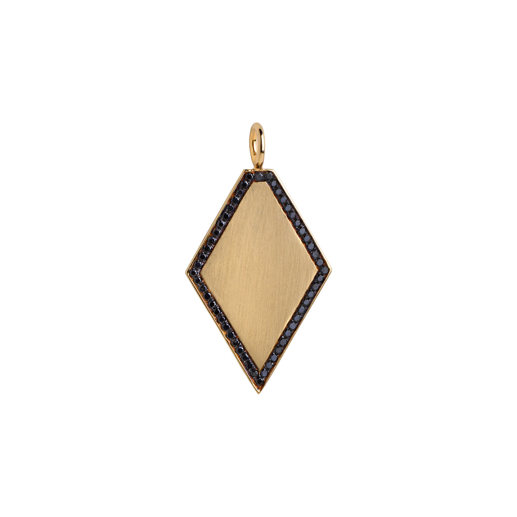 DIAMOND SHAPED PENDANT W/ BLACK DIAMONDS - Bridget King Jewelry