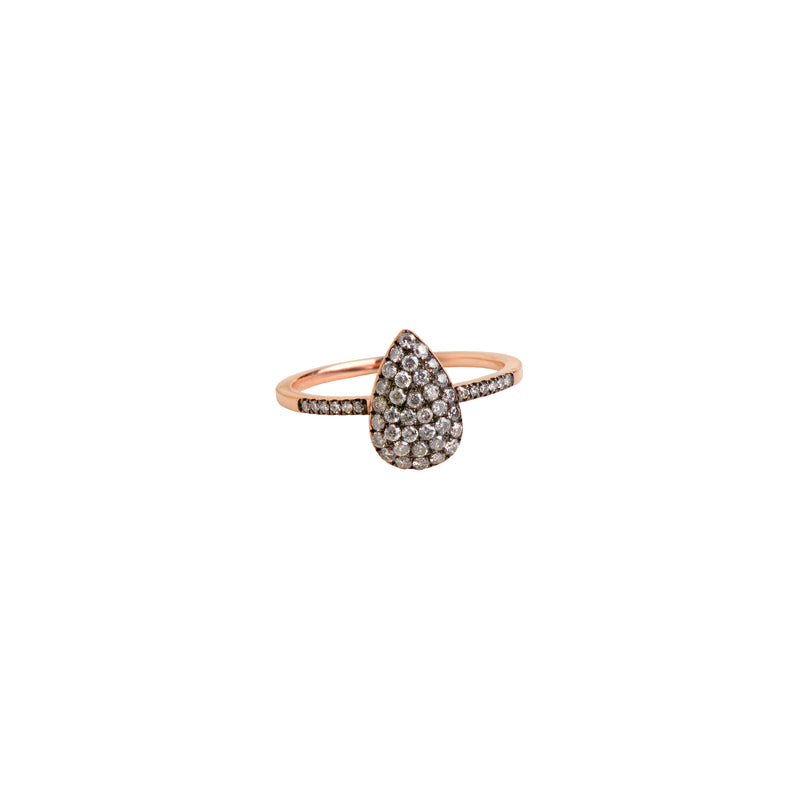 DIAMOND TEARDROP RING w/ GRAY DIAMONDS - Bridget King Jewelry