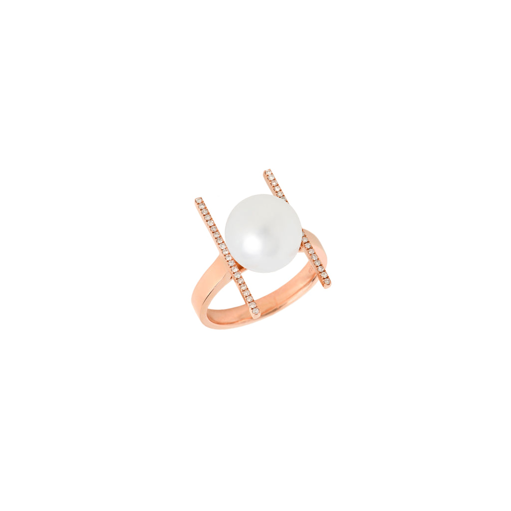 PEARL WITH DIAMOND BARS RING - Bridget King Jewelry