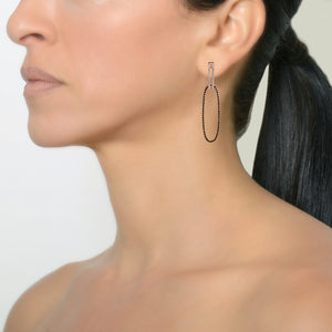 OPEN BAR DIAMOND HUGGIES w/ REVERSIBLE WHITE & BLACK DIAMOND OVAL EXTENSIONS - Bridget King Jewelry