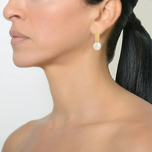 GOLD TILE w/ PEARL EARRINGS - Bridget King Jewelry