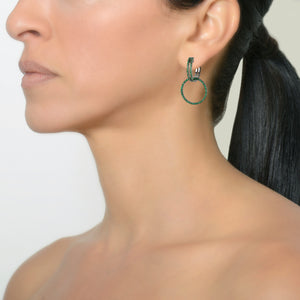 GREEN GARNET OPEN BAR HUGGIES w/ REVERSIBLE GREEN GARNET & BLACK SPINEL ROUND EXTENSIONS - Bridget King Jewelry