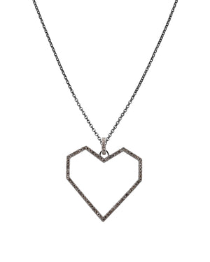 LARGE ANGULAR OPEN HEART PENDANT - Bridget King Jewelry
