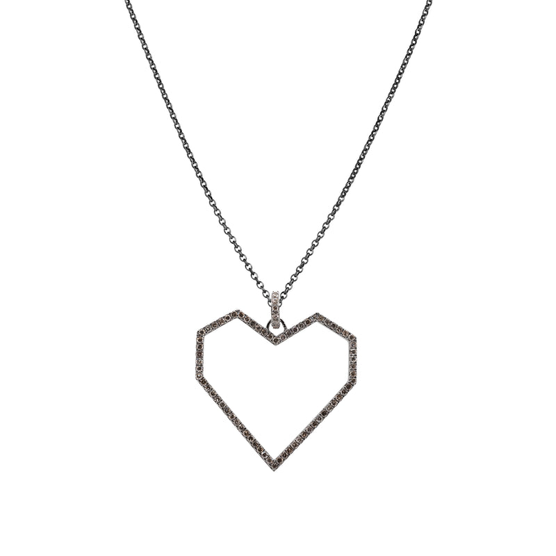 Large Angular Open Heart Necklace