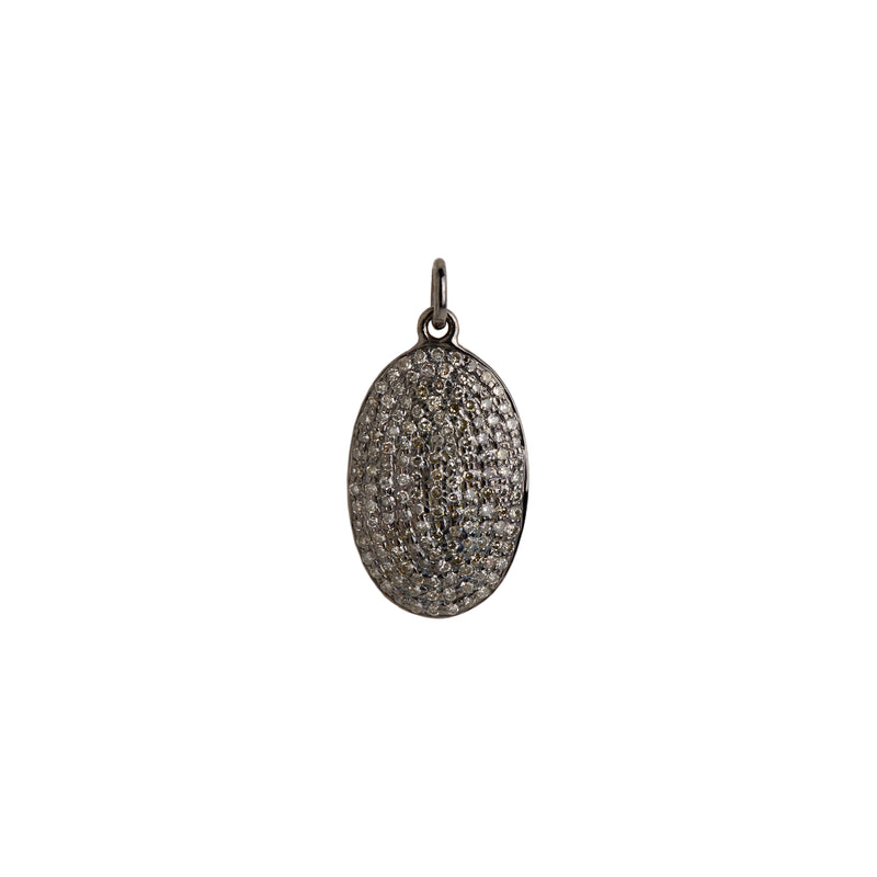 SILVER OBLONG PAVÉ DIAMOND PENDANT - Bridget King Jewelry