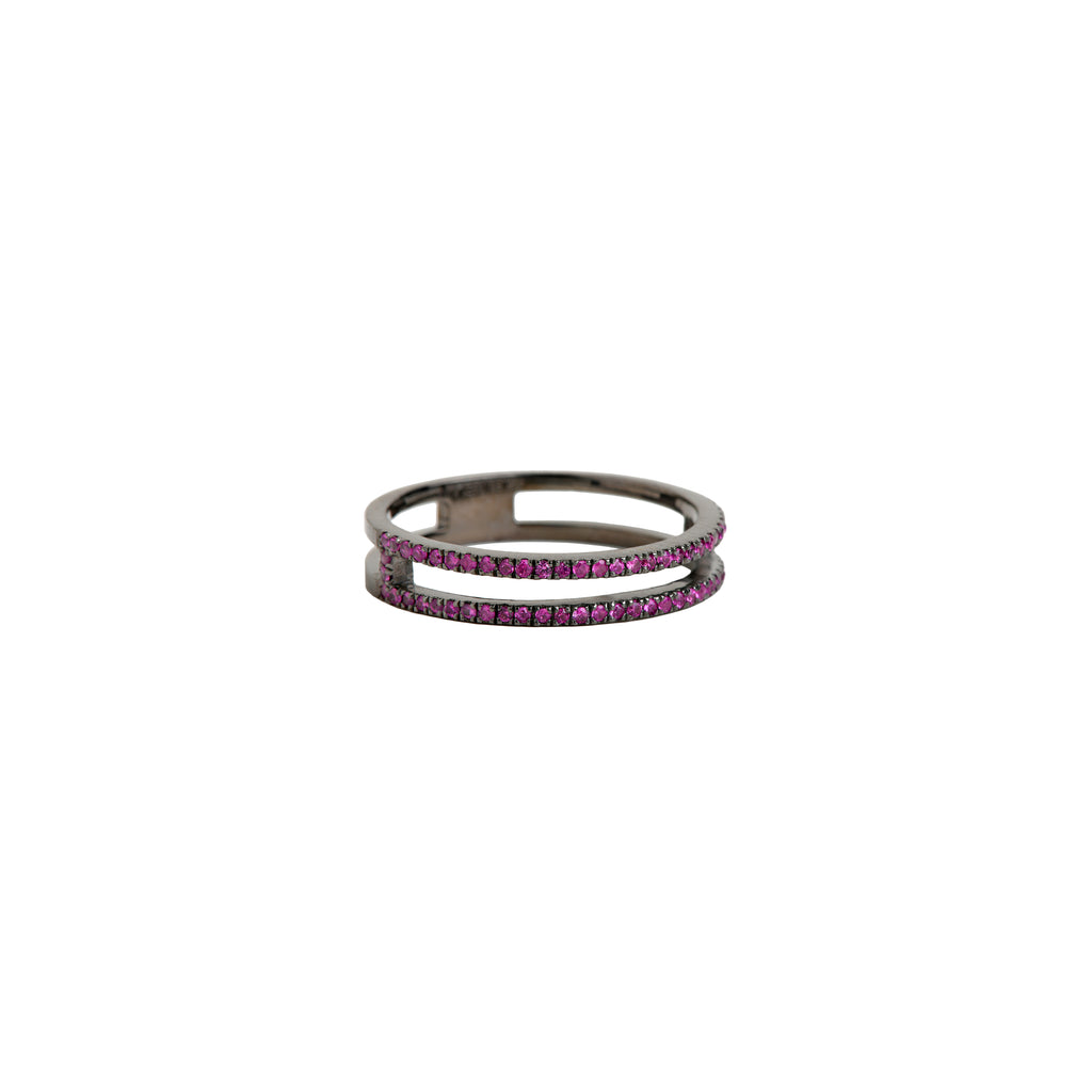 PINK SAPPHIRE OPEN BAR RING - Bridget King Jewelry