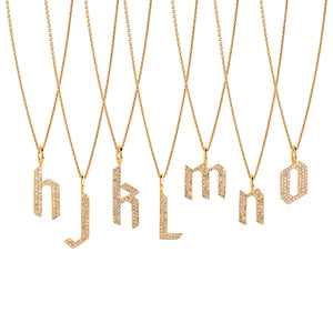 WHITE DIAMOND ALPHABET NECKLACE