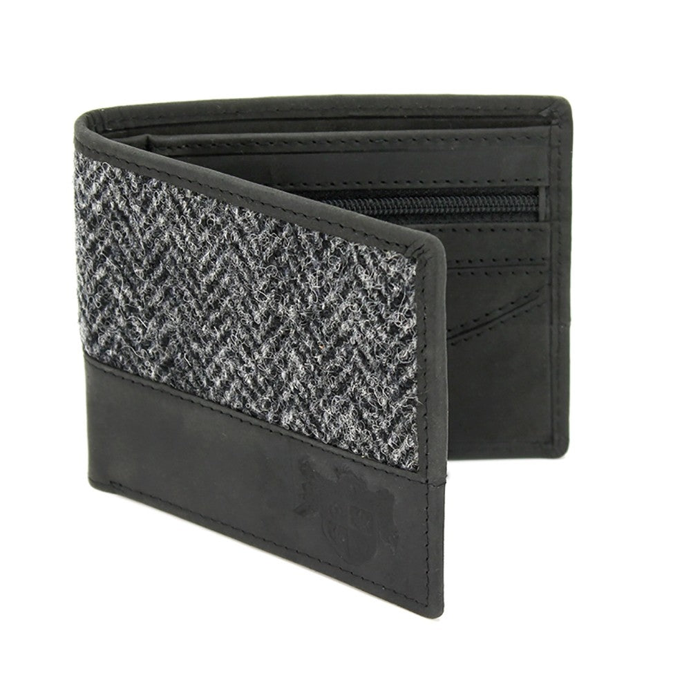 Grey Herringbone Tweed Wallet