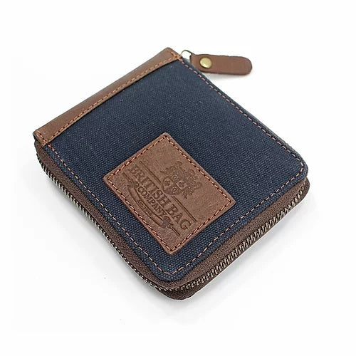 Navy Waxed Canvas Zip Wallet