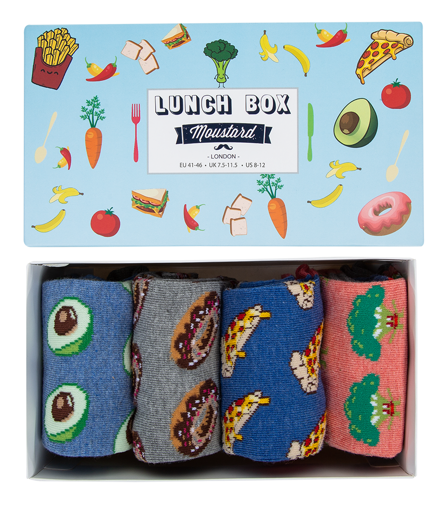 A box of lunch themed socks. Moustard Socks are very comfortable and durable. Click to view the full collection of boxed underwear for men and cotton underwear for women  at Eclectic Hound.