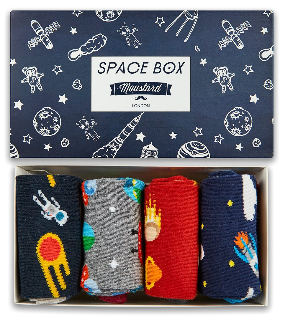 A box of space themed socks. Moustard Socks are very comfortable and durable as they have been knitted with the finest combed cotton. Click to view the full collection of boxed underwear and cotton underwear for women.