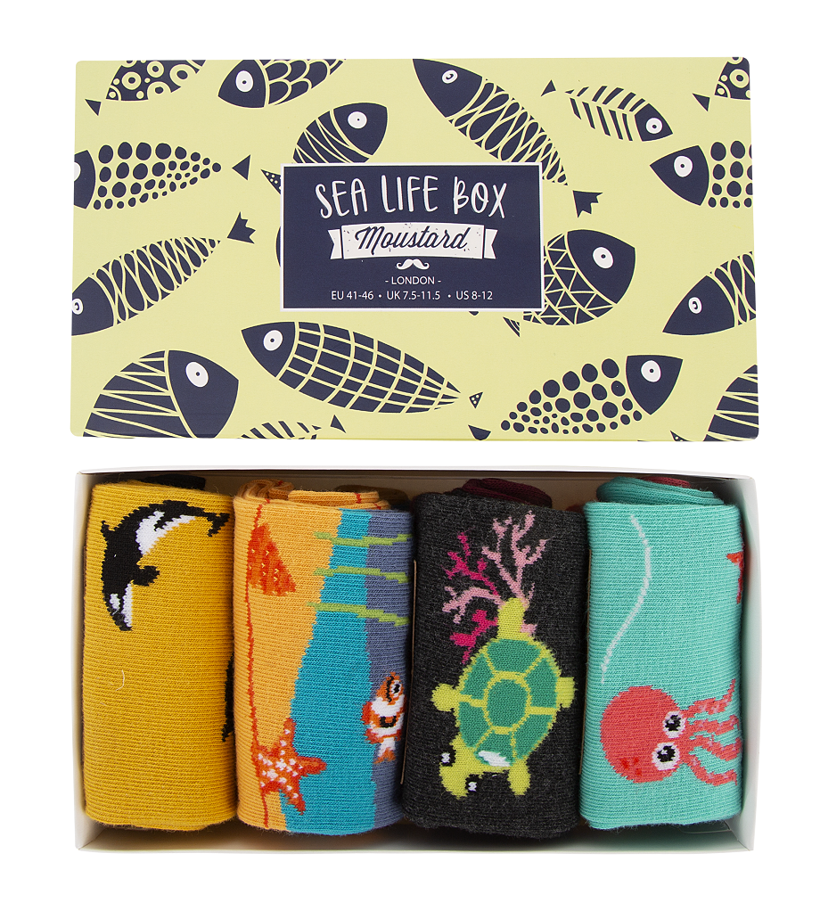 A box of sea life themed socks. Moustard Socks are very comfortable and durable. Click to view the full collection of boxed underwear for men and cotton underwear for women at Eclectic Hound.