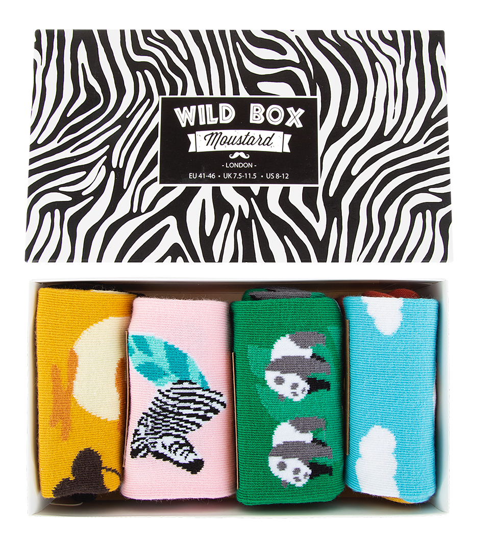 A box of wild life themed socks. Moustard Socks are very comfortable and durable as they have been knitted with the finest combed cotton. Click to view the full range of boxed underwear for men and cotton underwear for women.