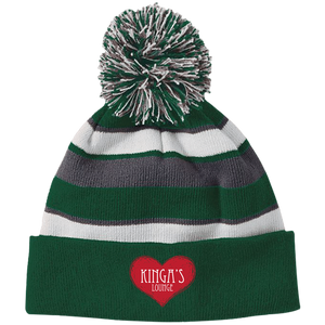 223835 Striped Beanie with Pom