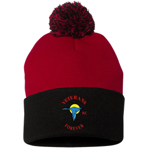 Veterans Forever goose logo with black 4500x5400 SP15 Pom Pom Knit Cap